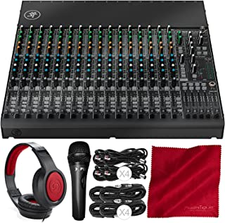 Mackie 1604VLZ4 16-Channel 4-Bus Compact Mixer with Samson Closed-Back Headphones, Xpix Studio Microphone, and Basic Audio Bundle