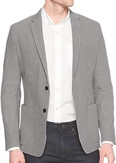 Banana Republic Men's Tailored Slim-Fit Seersucker Cotton Blazer Black Gray Striped