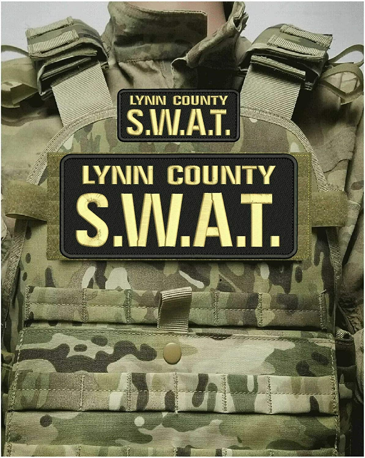 Lynn County S.W.A.T. Embroidery Patches 4X10 and 2X5 Hook On Bac