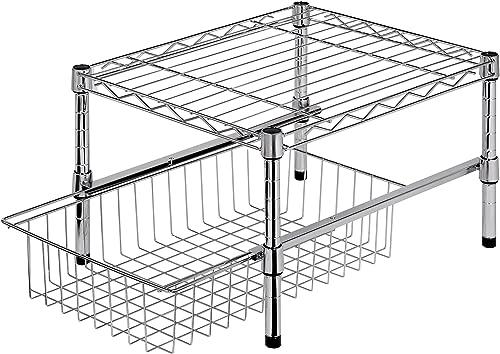 Honey-Can-Do Estante ajustable con organizador para debajo del gabinete, Organizador de armario, Cromado, 14.75 x 17....