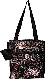 12 in by 13 in Tote Bag w/Mesh Water Bottle Pocket (Floral Bouquet)