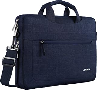 MOSISO Laptop Shoulder Bag Compatible with 13-13.3 Inch MacBook Air (Including 2018),MacBook Pro,New MacBook Pro USB-C with Adjustable Depth at Bottom,Polyester Messenger Briefcase Sleeve,Navy Blue
