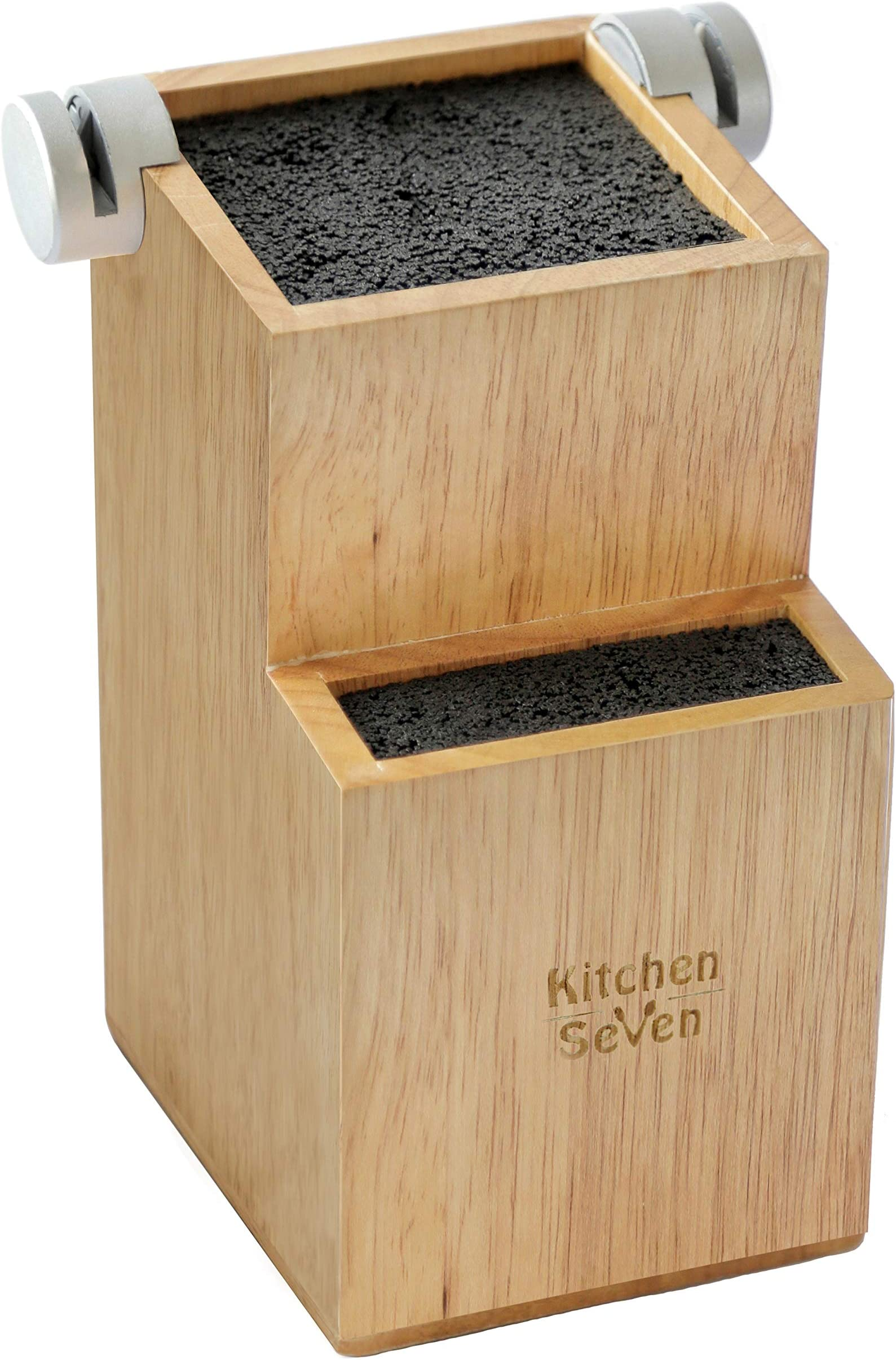 Bamboo Universal Knife Block - Knife Holder with 2 Built-In Knife Sharpeners - 2-Tiered Modern Knife Storage Up to 16 Large and Small Knives Easy Clean Wooden Knife Organizer by Kitchen Seven