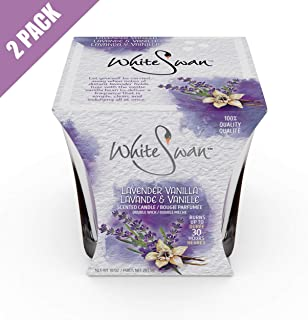 White Swan Premium Scented Candle (Lavender Vanilla) & Large Candle Set - Long Lasting -30 Hrs | Pure Natural Strong Fragrance Ideal for Bath or Bedroom to Eliminate Odor, Stress Relief