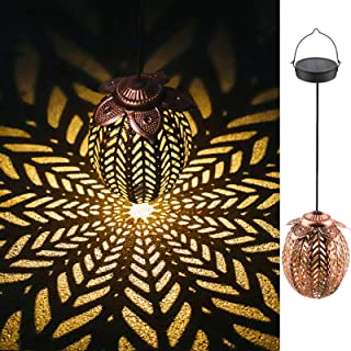 Tyndallrays Hanging Solar Lights Solar Lantern LED Garden Lights Metal Lamp Waterproof for Outdoor Hanging Decor