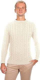 Men's Crew Neck Soft Wool Blend Knit Irish Aran Sweater Pullover