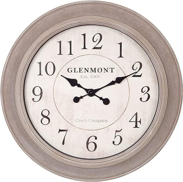 24 Washed Grey Woodgrain Circle Wall Clock