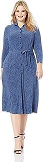 Anne Klein womens PLUS LONG SLEEVE KNIT BUTTON DOWN DRESS Dress