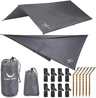 PURE HANG Premium tentzeil Tarp 3x3 voor hangmat outdoor camping 100% waterdicht met oogjes zonnezeil strand ultra licht z...