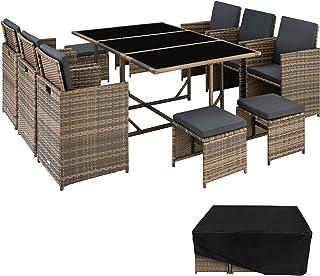 TecTake Salon de Jardin en Résine Tressée 10 Places Housse de Protection 6 Fauteuils 4 Tabourets 1 Table