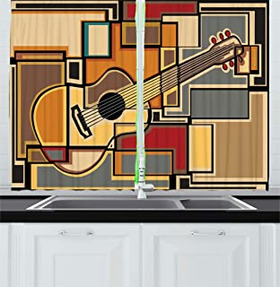 Ambesonne Music Kitchen Curtains, Funky Fractal Geometric Square Shaped Background with Acoustic Guitar Art, Window Drapes 2 Panel Set for Kitchen Cafe Decor, 55