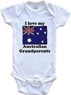 I Love My Australian Grandparents Australia Flag Grandchild Baby Onesie