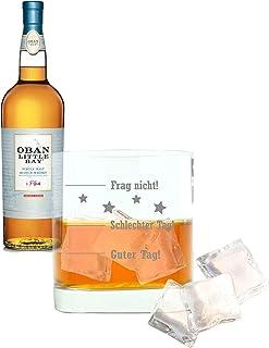 Whiskey 2er Set, Oban Little Bay, Single Malt, Whisky, Scotch, Alkohol, Alokoholgetränk, Flasche, 43%, 700 ml, 709605, Geschenk zum Vatertag, mit graviertem Glas