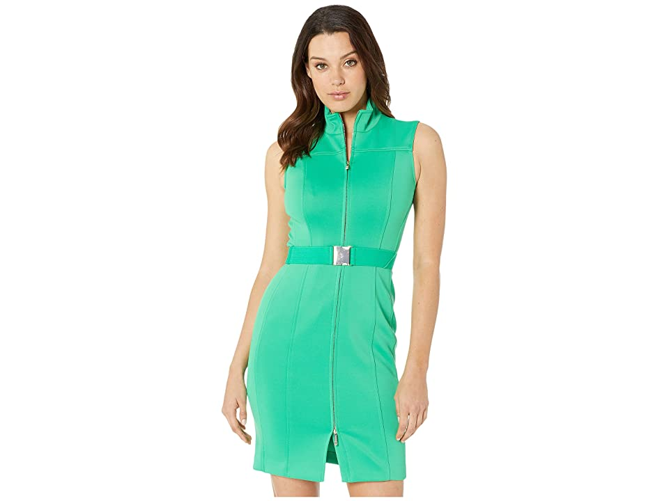 Tommy Hilfiger Scuba Front Zip Sheath Dress (Peapod) Women