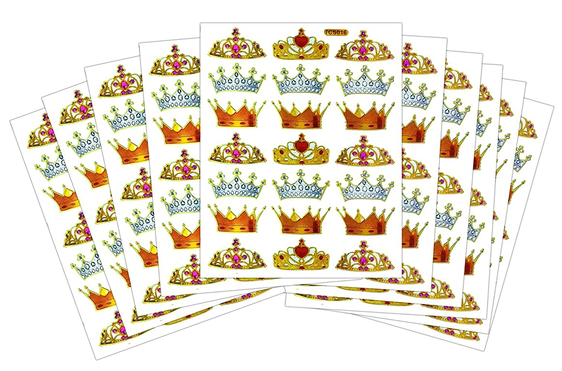 10 Sheets Crown Prince & Princess Self-adhesive Glitter Gold Metallic Foil Reflective Sticker Decorative Scrapbook for Wedding, Birthday, Photo, Card, Diary, Album