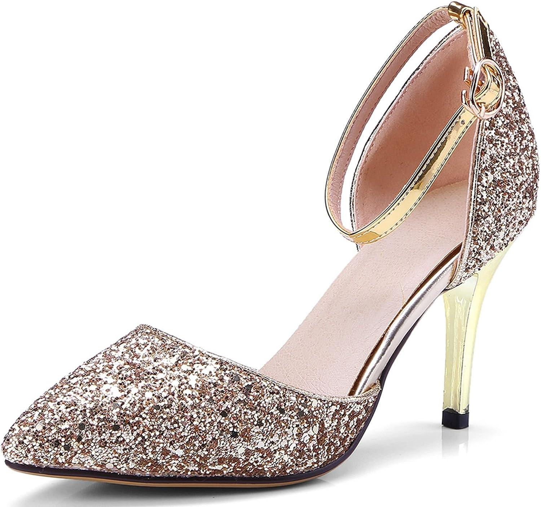 VIMISAOI Women's Fashion Pointed Toe Stiletto Glitter Upper Ankle Strap Wedding Dress Pumps