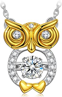 DANCING HEART ✦Owl Wisdom✦ Women Christmas Necklace Gifts 18K Gold Plated Owl Women Necklace 925 Silver Pendent Necklaces for Women Gift Passed SGS Test