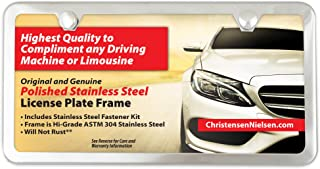 License Plate Frame 2 Holes, Polished Stainless Steel, Mirror Finish - Not Chrome Plated, Slim with Bonus Large 76 pc Stainless License Plate Screws Kit, Christensen and Nielsen