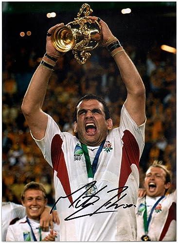 Photo Exclusive de Martin Johnson signée England Rugby   vainqueur de la Coupe du Monde