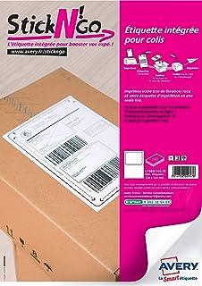 AVERY - Boite de 500 étiquettes intégrées autocollantes Stick'Ngo, Format 120 x 164 mm, Compatible Colissimo, Impression l...
