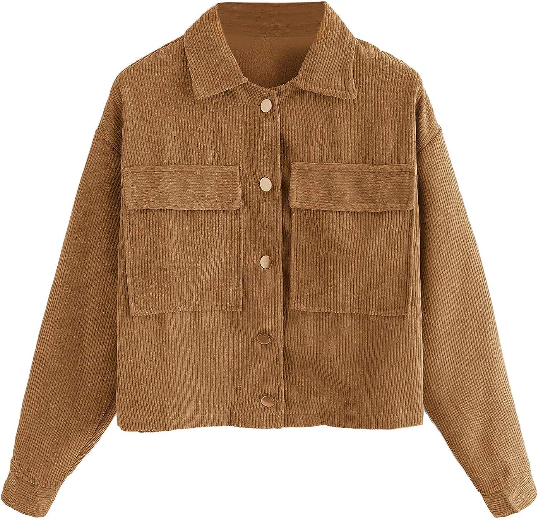 Milumia Women Crop Jackets Button Down Long Sleeves Dual Pockets Casual Outwear