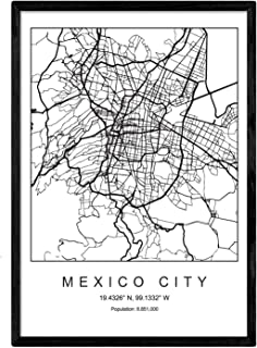 Nacnic Lámina Mapa de la Ciudad Mexico City Estilo nordico en Blanco y Negro. Poster tamaño A3 Sin Marco Impreso Papel 250...