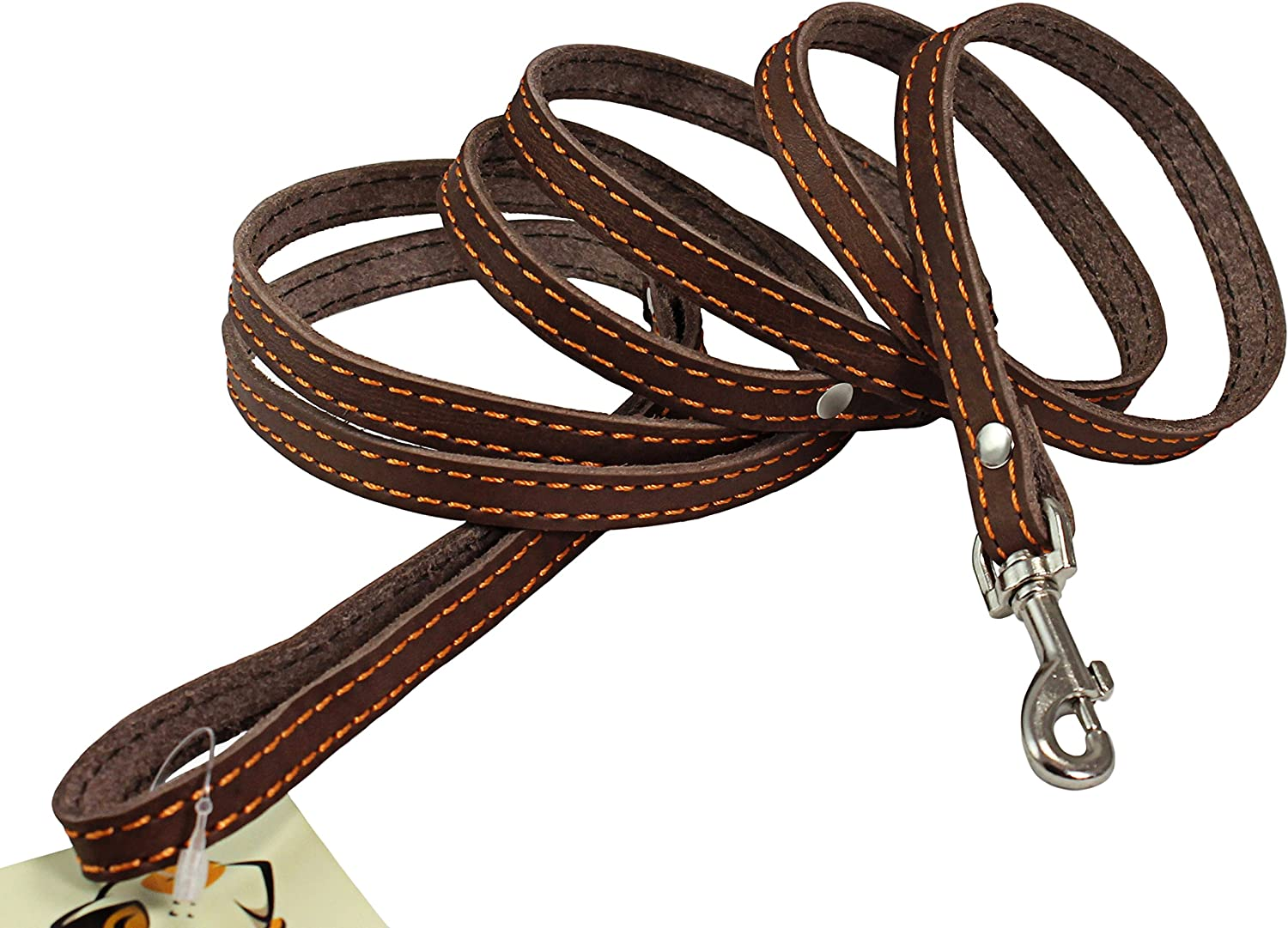 6' Long Genuine Leather Braided Dog Leash Brown 3 8  Wide for Small Dogs and Puppies