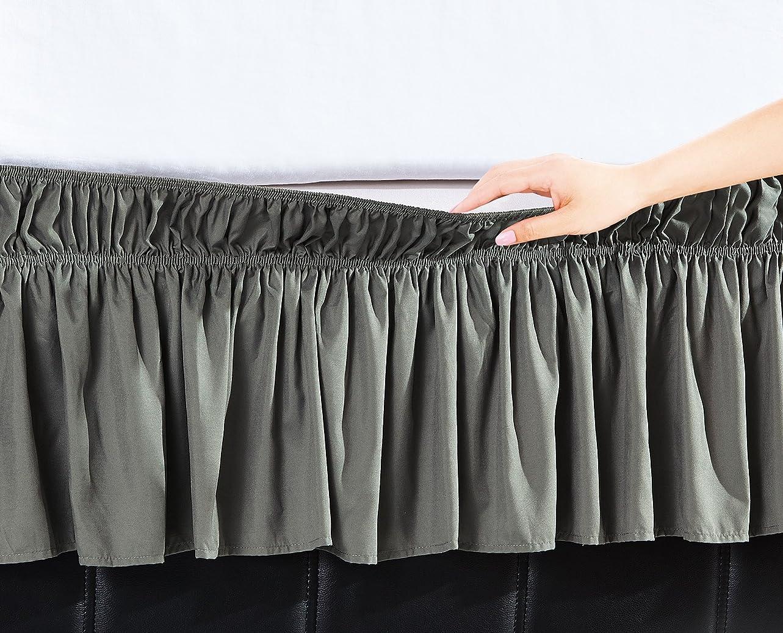 楽な迷信十分16インチドロップEasywrapゴムフリル付きベッドスカート Twin/Full シルバー