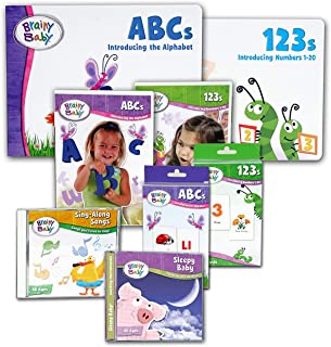 Brainy Baby Teach Your Child ABCs and 123s Discovering the Alphabet A to Z and Introducing Numbers 1 to 20 with Board Books, Flash Cards Music 8 Piece Set