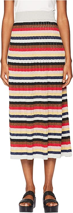 Lurex Striped Long Skirt