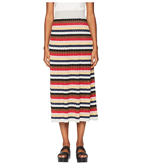 Sonia Rykiel Lurex Striped Long Skirt