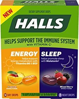 HALLS Energy & Sleep Dietary Supplements, Tropical & Mixed Berry Flavors, 1 Pack (14 Daytime Drops, 7 Nighttime Drops)