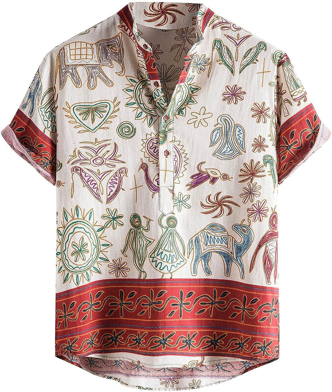 VEKDONE Mens Hawaiian Shirts Short Sleeve Button Henley Shirt Casual Summer Cotton Linen Shirts Tropical Aloha Hawaiian Tops