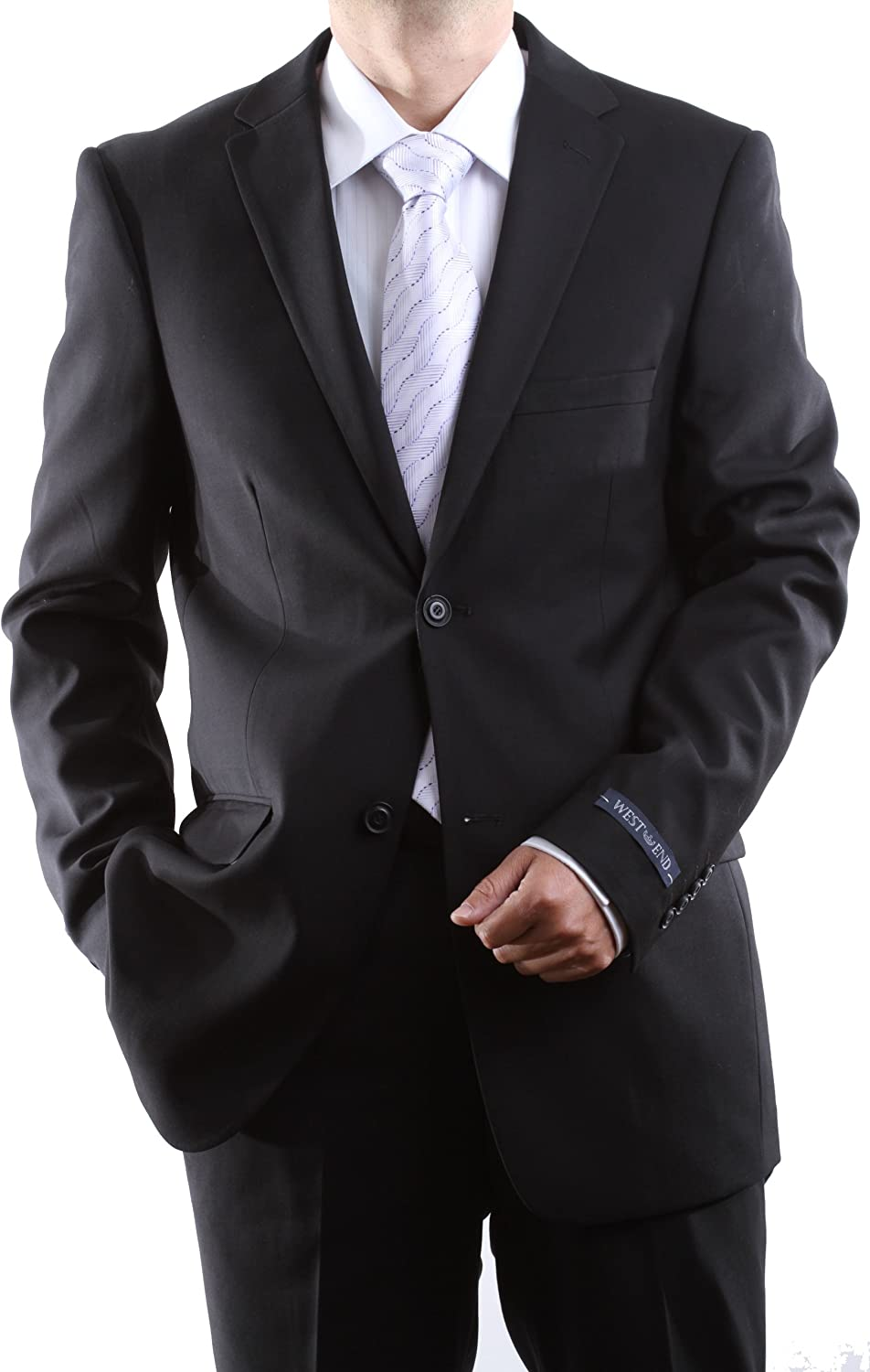 WESTEND Men's Single Breasted 2 Button Black Extra Fine Slim Fit Dress Suit