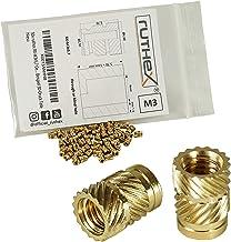ruthex Gänginsats M3 (100 stycken) – RX-M3 x 5,7 mässing gängade bussningar – pressmutter för plastdelar – genom värme ell...