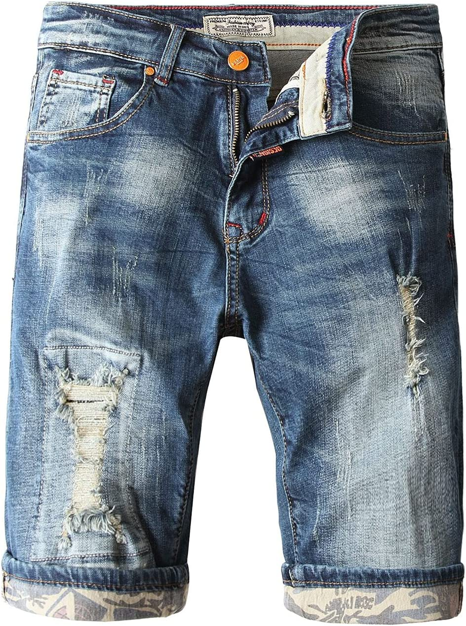 Men's Classic Fit Ripped Denim Short Distressed Vintage Straight Jeans Shorts Summer Casual Stretch Holes Jean Shorts (Navy Blue,30)