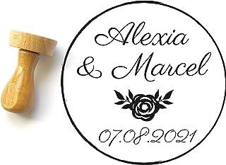 Timbro matrimonio personalizzato con rosa, forma rotonda 4 cm, con nomi e data, stile country chic