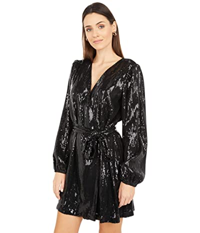 WAYF Sequin Wrap Dress (Black Sequin) Women