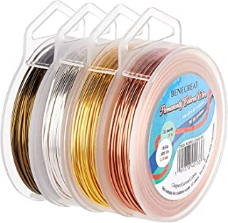 BENECREAT 4 Rolls 18 Gauge Jewelry Wire 4 Colors Tarnish Resistant Copper Wire for Beading Ring Making and Other Jewelry C...