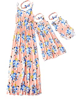 Mommy and Me Matching Maxi Dress Floral Printed Sleeveless Dress for Mother and Daughter
