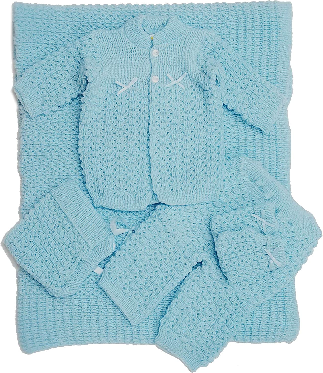 cotton baby clothes hospital clothes knitted sweater blue sweater set newborn bear baby boy outfit coming home outfit hat and booties