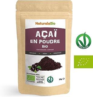 Poudre de Baies d'Açai Bio [Freeze-Dried] 50g. Pure Organic Acai Berry Powder. 100% Produit au Brésil, Lyophilisé, Cru, extrait de la pulpe de baie d'acaï. Superfood riche en antioxydants, vitamines.