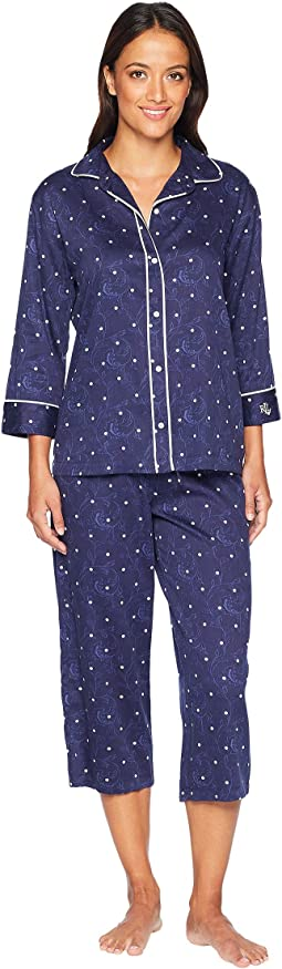 Rounded Collar Double Piped Capris Pajama Set