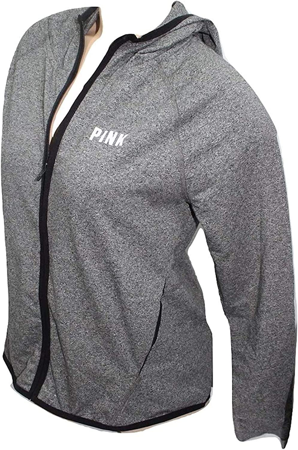 Victoria's Secret Pink High Low Hoodie Stretch Full Zip Gray Size XSmall NWT