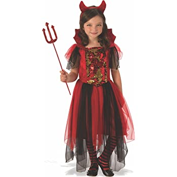 Halloween - Disfraz de Bruja diablesa para niña, color rojo - 5-7 ...