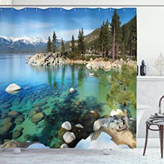 Ambesonne Lake Tahoe Shower Curtain, Scenic American Places Mountains with Snow Rocks in The Lake California Summer, Cloth Fabric Bathroom Decor Set with Hooks, 75