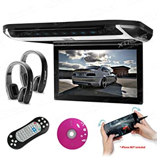 "XTRONS 10"" HD Digital TFT Monitor Car Roof Flip Down Overhead DVD Player Touch Panel Game Disc HDMI Port Black IR Headphon..."