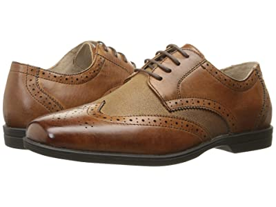 Florsheim Kids Reveal Wingtip Jr. (Toddler/Little Kid/Big Kid) (Cognac/Linen) Boys Shoes