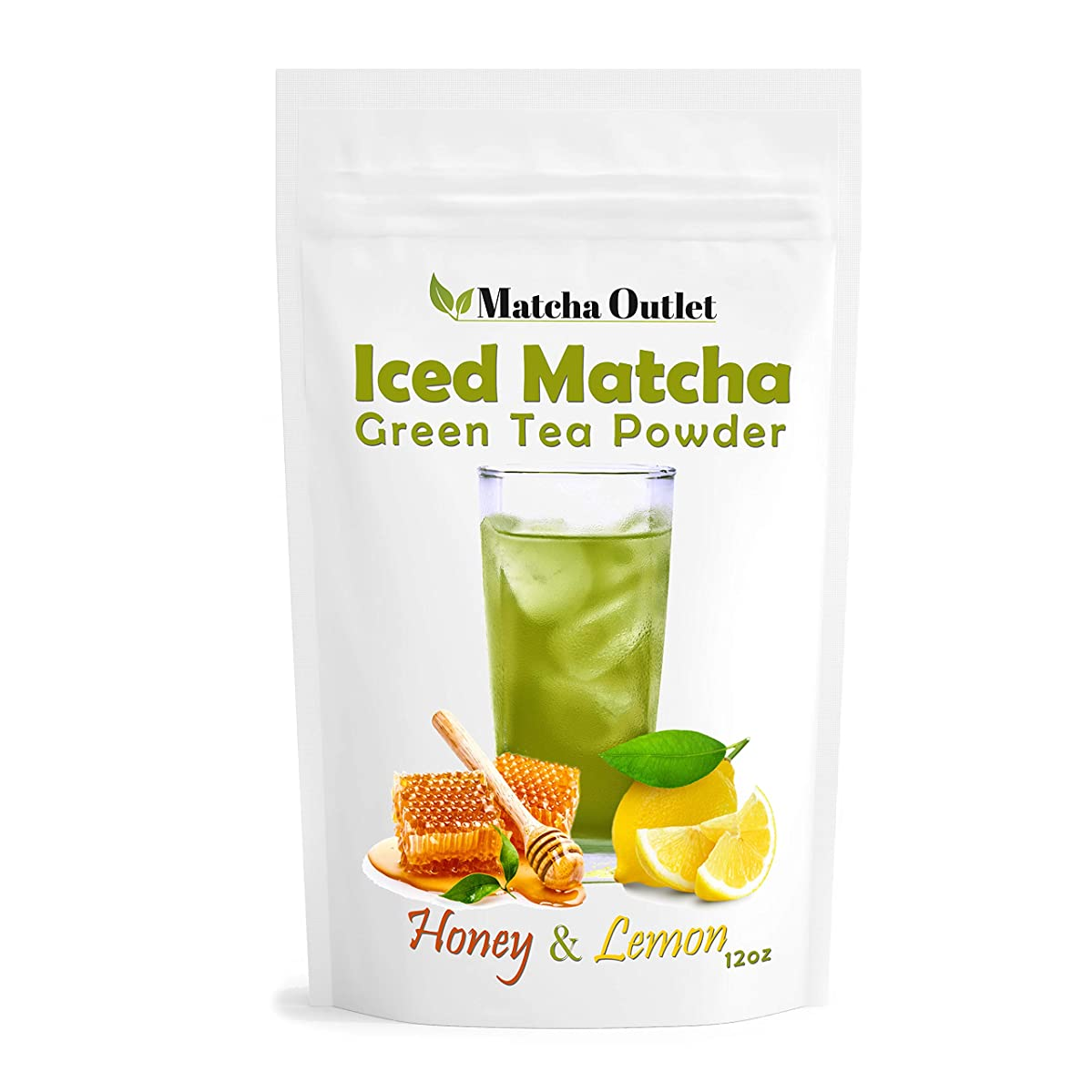 Iced Matcha Honey-Lemon Green Tea Powder (12oz) - Super-Refreshing and Great for Summer - Packed with Antioxidants, All-Natural Energy Boost - Made with Ceremonial Japanese Matcha