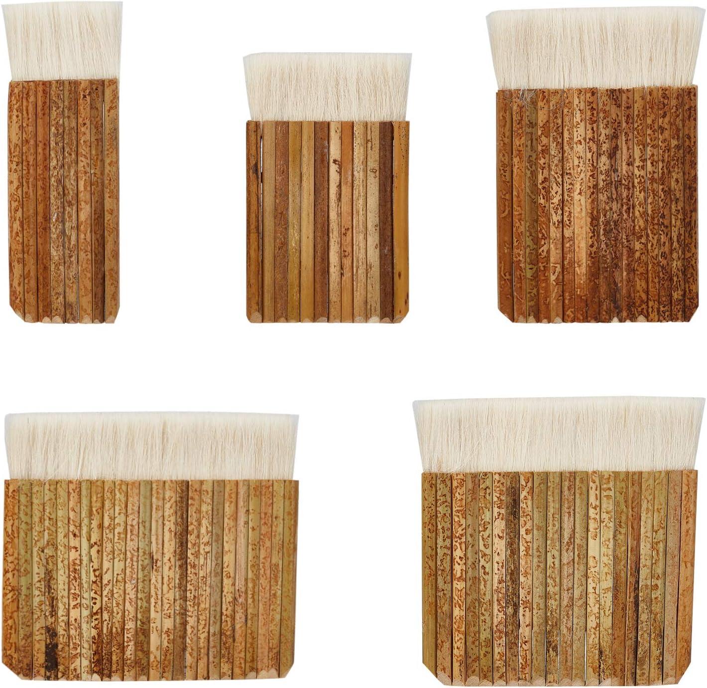 PandaHall 5 tamaños de cepillos de acuarela de merluza con mango de bambú para lavado de horno, acuarela, limpieza de polvo, cerámica, pintura de cerámica